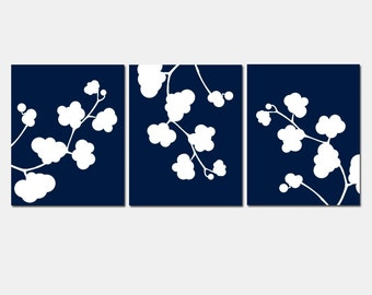 Clover Whimsy Trio - Set of Three Floral 8x10 Prints - CHOOSE YOUR COLORS - Shown in Dark Navy Blue and White, Gray, Pale Aqua, and More