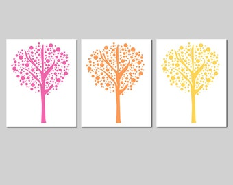 Tree Dot Trio - Set of Three 8x10 Prints - Modern Nursery Decor - Kids Wall Art - CHOOSE YOUR COLORS - Shown in Hot Pink, Orange, and Yellow