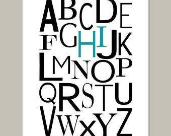 Modern Alphabet - 11x14 - Hi Print - Modern Home, Nursery Decor, Kids Wall Art - Choose Your Colors