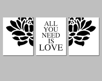 All You Need Is Love - Set of Three Modern Floral Coordinating 11x14 Prints - CHOOSE YOUR COLORS - Shown in Black and White