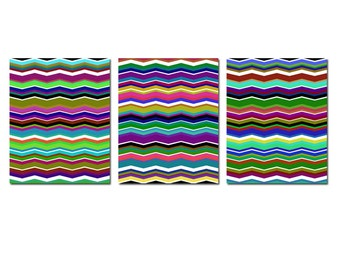 Modern Art Decor Rainbow Zig Zag Chevron Trio - Set of Three 8x10 Coordinating Prints - CHOOSE YOUR COLORS