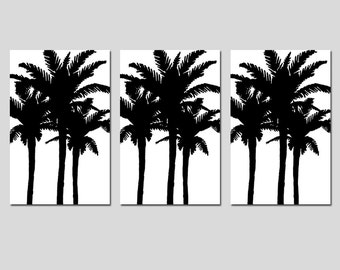 Modern Palm Tree Silhouette Trio - Set of Three Large Scale 13x19 Coordinating Prints - Choose Your Colors - Shown in Black and White