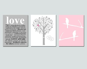 Lovers Tree, Love Bird, Love Definition Trio - Set of Three 8x10 Coordinating Prints - Choose Your Colors - GREAT GIFT