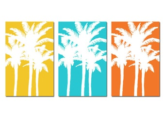 Modern Tropical Palm Tree Silhouette Trio - Set of Three Large 11x17 Prints - CHOOSE YOUR COLORS - Shown in Yellow, Aqua, Orange