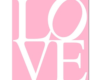 LOVE - 11x14 Typography Print - Modern Nursery Decor - Choose Your Colors - Shown in Pink, Turquoise, Olive Green, Yellow, and More