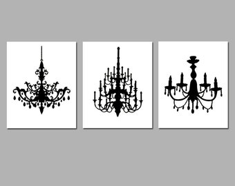 Chandelier Art Trio - Set of Three Coordinating 8x10 Chandelier Prints - Modern Wall Art - Choose Your Colors - Shown in Black and White