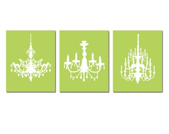 Modern Chandelier Trio - Set of Three Coordinating 8x10 Chandelier Art Prints - CHOOSE YOUR COLORS - Shown in Soft Apple Green and White