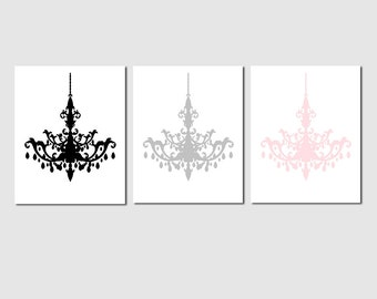 Modern Chandelier Trio - Set of Three Coordinating 8x10 Prints - Nursery Wall Art - CHOOSE YOUR COLORS - Shown in Black, Gray, Pale Pink