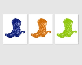 Cowboy Boot Trio - Set of Three 8x10 Prints - Kids Wall Art - Country Western - CHOOSE YOUR COLORS - Shown in Navy Blue, Orange, Lime Green