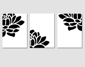 Floral Trio - Set of Three Modern Coordinating 5x7 Prints - Chic, Sophisticated Decor - CHOOSE YOUR COLORS - Shown in Black and White