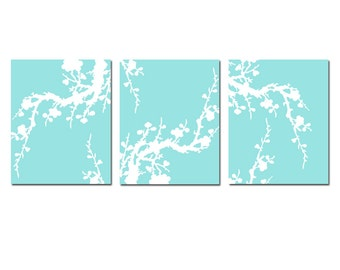Modern Cherry Blossom Nursery Art Trio - Set of Three Floral 8x10 Prints - CHOOSE YOUR COLORS - Shown in Pale Aqua and White