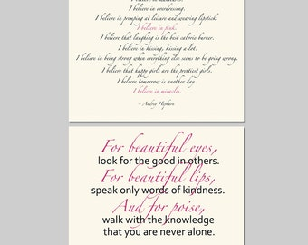 I Believe In Pink, For Beautiful Eyes - Set of Two 8x10 Audrey Hepburn Quote Prints - Choose Your Colors - Shown in Black, Pink, Cream