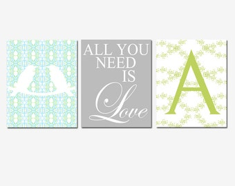Wall Art - Set of Three 8x10 Prints - Love Birds, All You Need Is Love, Floral Monogram Initial - Wedding Gift - Choose Your Colors
