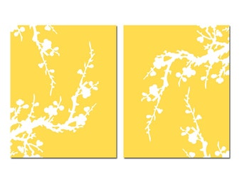 Modern Cherry Blossom Duo - Set of Two Large Scale Floral 8x10 Coordinating Prints - CHOOSE YOUR COLORS - Shown in Yellow and White