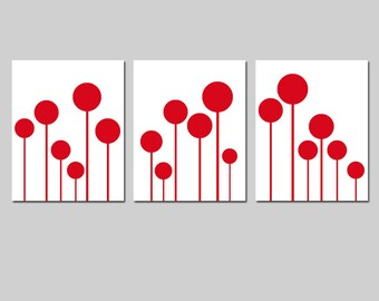 Modern Lollipop Trio - Set of Three Playful 8x10 Coordinating Prints - CHOOSE YOUR COLORS - Shown in Red and White