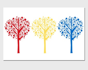 Playful Tree Dot Trio - 11x17 - Nursery or Childrens Decor - Kids Wall Art - CHOOSE YOUR COLORS - Shown in Red, Yellow, Blue and More