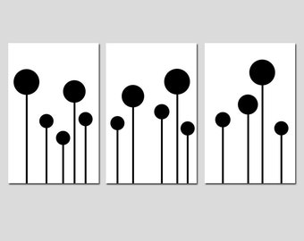 Modern Geometric Lollipop Trio - Set of Three 11x17 Coordinating Prints - Choose Your Colors - Shown in Black and White