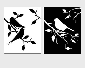 Birds of a Feather Duo - Set of Two 8x10 Coordinating Bird Prints - Bathroom, Nursery - Choose Your Colors - Shown in Black and White