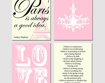 Audrey In Paris - Set of Four 11x14 Prints - LOVE, Audrey Hepburn Quotes, Chandelier - Choose Your Colors - Shown in Pink, Cream, Black