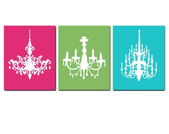 Modern Chandelier Trio - Set of Three 8x10 Chandelier Prints - Wall Art - CHOOSE YOUR COLORS - Shown in Hot Pink, Green, Turquoise Blue