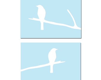 Modern Birds Duo - Set of Two 11x14 Bird on a Branch Prints - CHOOSE YOUR COLORS - Shown in Baby Blue, Pale Gray, Soft Yellow, and More