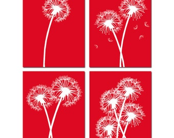 Dandelion Floral Art Quad - Poppy Flowers - Set of Four 8x10 Coordinating Prints - CHOOSE YOUR COLORS - Shown in Red and White