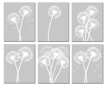 Modern Dandelion Prints  - Set of Six 8x10 Coordinating Floral Art Prints - CHOOSE YOUR COLORS - Shown in Gray, Black, White and More
