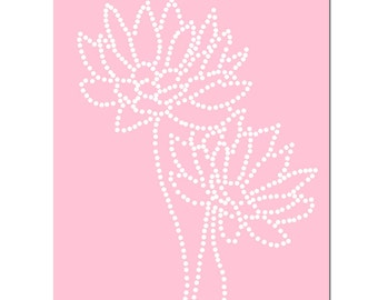 Baby Girl Nursery Art Dotted Floral - 8x10 Floral Print - Polka Dots - CHOOSE YOUR COLORS - Shown in Light Pink and White