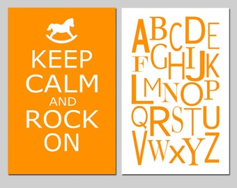 Childrens Nursery Art Duo - Keep Calm and Rock On - Modern Alphabet - Kids Wall Art - Set of Two 11x17 Prints - CHOOSE YOUR COLORS