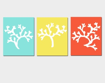 Nautical Wall Art - Coral Trio - Set of Three 8x10 Coral Silhouette Prints - CHOOSE YOUR COLORS - Shown in Aqua, Lemon Yellow, Red Orange