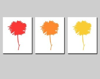 Modern Abstract Floral Trio - Set of Three Coordinating 8x10 Prints - CHOOSE YOUR COLORS - Shown in Red, Orange, Yellow