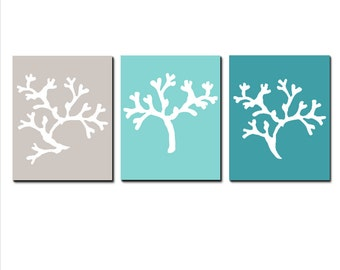 Coral Trio - Set of Three 8x10 Coral Silhouette Prints - CHOOSE YOUR COLORS - Shown in Aqua Sea Green, Teal Green, Gray, and More