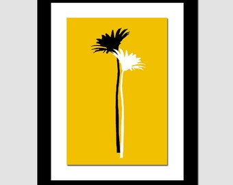 Large 13x19 Abstract Floral Print - Kitchen, Bedroom, Bathroom, Dining Room - CHOOSE YOUR COLORS - Shown in Marigold Yellow, Black, White