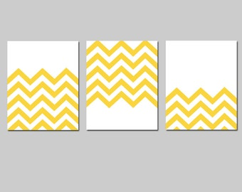 Modern Chevron Trio - Set of Three 8x10 Zig Zag Chevron Prints - Choose Your Colors - Shown in Yellow and White