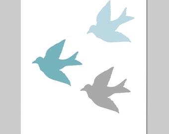 Baby Birds - 8x10 Bird Silhouette Print - Modern Nursery Decor - CHOOSE YOUR COLORS - Shown in Baby Blue, Aqua Teal Blue, Gray