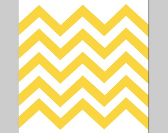 Modern Chevron Office Decor - 8x10 Print - CHOOSE YOUR COLORS - Shown in Yellow and White
