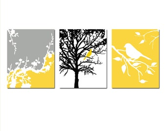Nature Nursery Art Trio - Set of Three 11x14 Prints - Birds, Trees, Cherry Blossoms - CHOOSE YOUR COLORS - Shown in Yellow, Gray, Black
