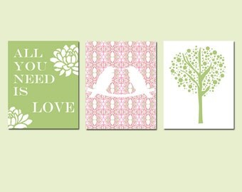 Nursery Art Trio - Set of Three 8x10 Prints - Love Birds, Tree Dot, Floral Quote - All You Need Is Love - CHOOSE YOUR COLORS