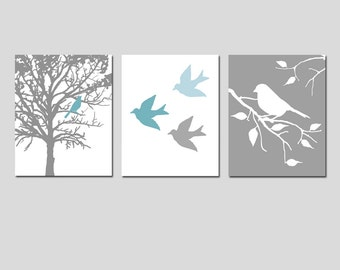 Modern Bird Trio - Set of Three 8x10 Prints - Nursery Decor - Choose Your Colors - Shown in Teal Blue, Baby Blue, White, Gray