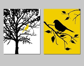 Birds and Trees - Set of Two 8x10 Prints - Bathroom, Nursery, Kitchen, Bedroom - Choose Your Colors - Shown in Yellow, Black, White