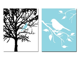 Bird in a Tree and Bird on a Branch - Set of Two 8x10 Prints - Bathroom, Nursery Decor, Kitchen, Bedroom Wall Art - CHOOSE YOUR COLORS