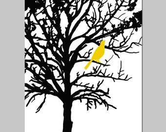 Bird in a Tree - 13x19 Large Print - Modern Nursery, Bathroom, Kitchen - CHOOSE YOUR COLORS