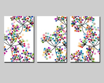 Modern Decor Abstract Art Black and White Art Colorful Dots Botanical Art Trio - Set of 3 Coordinating Floral Prints