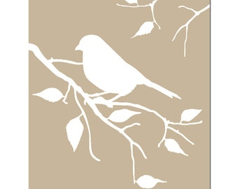 Bird on a Twig - 8x10 Nature Silhouette Print - Art for Nursery, Bathroom, Kitchen - Home Decor - CHOOSE YOUR COLORS - Shown in Taupe