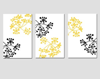 Modern Decor Botanical Dots Floral Art Trio - Set of Three 13x19 Coordinating Prints - CHOOSE YOUR COLORS - Shown in Black, White, Yellow