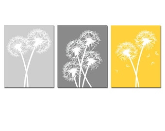 Modern Dandelion Trio - Set of Three 8x10 Coordinating Floral Art Prints - CHOOSE YOUR COLORS - Shown in Gray, Gunmetal Gray, Yellow, White