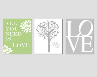 Lovers Tree, Love, All You Need Is Love Floral Quote - Set of Three 11x14 Prints - Home Decor - Choose Your Colors - GREAT WEDDING GIFT