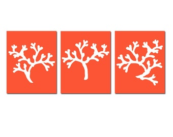Coral Trio - Set of Three 8x10 Coral Beach Sea Life Silhouette Prints - Wall Art - Choose Your Colors - Shown in Red Orange, Aqua, and More