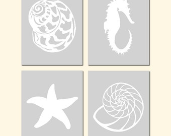 Nautical Quad - Set of Four 11x14 Shell, Starfish, Seahorse Silhouette Prints - CHOOSE YOUR COLORS - Shown in Pale Gray, Soft Aqua, and More