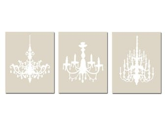 Modern Chandelier Trio - Set of Three Coordinating 8x10 Chandelier Prints - Choose Your Colors - Shown in Taupe and White